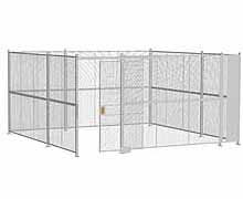 "4-Wall Woven Wire Security Cage, No Ceiling, 16'6"" x 16'6"" x 8'5-1/4"" with 4' sliding gate"