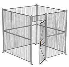 "4-Wall Woven Wire Security Cage, No Ceiling, 8'4"" x 8'4"" x 8'5-1/4"" with 3' hinged gate"