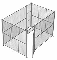 "4-Wall Woven Wire Security Cage, No Ceiling, 12'6"" x 8'4"" x 8'5-1/4"" with 3' hinged gate"