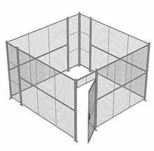 "4-Wall Woven Wire Security Cage, No Ceiling, 12'6"" x 12'6"" x 8'5-1/4"" with 3' hinged gate"