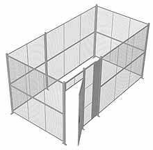"4-Wall Woven Wire Security Cage, No Ceiling, 16'6"" x 8'4"" x 8'5-1/4"" with 3' hinged gate"
