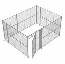 "4-Wall Woven Wire Security Cage, No Ceiling, 16'6"" x 12'6"" x 8'5-1/4"" with 3' hinged gate"