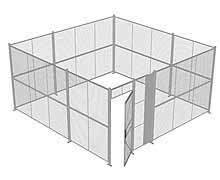 "4-Wall Woven Wire Security Cage, No Ceiling, 16'6"" x 16'6"" x 8'5-1/4"" with 3' hinged gate"