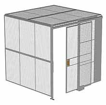 "2-Wall Woven Wire Security Cage, w/Ceiling, 8'2"" x 8'2"" x 8'5-1/4"" with 4' sliding gate"