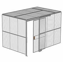 "2-Wall Woven Wire Security Cage, w/Ceiling, 12'4"" x 8'2"" x 8'5-1/4"" with 4' sliding gate"