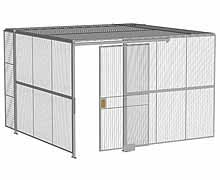 "2-Wall Woven Wire Security Cage, w/Ceiling, 12'4"" x 12'4"" x 8'5-1/4"" with 4' sliding gate"