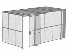"2-Wall Woven Wire Security Cage, w/Ceiling, 16'4"" x 8'2"" x 8'5-1/4"" with 4' sliding gate"