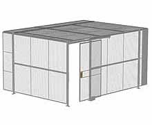 "2-Wall Woven Wire Security Cage, w/Ceiling, 16'4"" x 12'4"" x 8'5-1/4"" with 4' sliding gate"