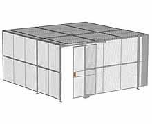 "2-Wall Woven Wire Security Cage, w/Ceiling, 16'4"" x 16'4"" x 8'5-1/4"" with 4' sliding gate"