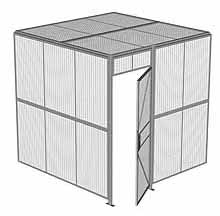 "2-Wall Woven Wire Security Cage, w/Ceiling, 8'2"" x 8'2"" x 8'5-1/4"" with 3' hinged gate"