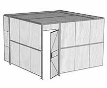 "2-Wall Woven Wire Security Cage, w/Ceiling, 12'4"" x 12'4"" x 8'5-1/4"" with 3' hinged gate"