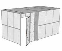 "2-Wall Woven Wire Security Cage, w/Ceiling, 16'4"" x 8'2"" x 8'5-1/4"" with 3' hinged gate"