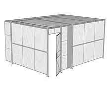 "2-Wall Woven Wire Security Cage, w/Ceiling, 16'4"" x 12'4"" x 8'5-1/4"" with 3' hinged gate"