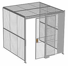 "3-Wall Woven Wire Security Cage, w/Ceiling, 8'4"" x 8'2"" x 8'5-1/4"" with 4' sliding gate"