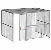"3-Wall Woven Wire Security Cage, w/Ceiling, 12'6"" x 8'2"" x 8'5-1/4"" with 4' sliding gate"