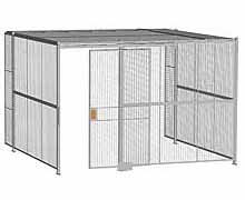 "3-Wall Woven Wire Security Cage, w/Ceiling, 12'6"" x 12'4"" x 8'5-1/4"" with 4' sliding gate"