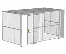 "3-Wall Woven Wire Security Cage, w/Ceiling, 16'6"" x 8'2"" x 8'5-1/4"" with 4' sliding gate"