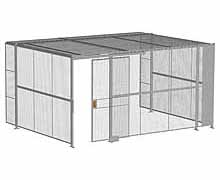 "3-Wall Woven Wire Security Cage, w/Ceiling, 16'6"" x 12'4"" x 8'5-1/4"" with 4' sliding gate"