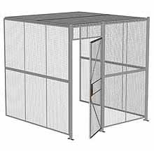 "3-Wall Woven Wire Security Cage, w/Ceiling, 8'4"" x 8'2"" x 8'5-1/4"" with 3' hinged gate"