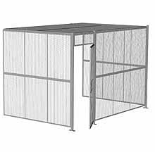 "3-Wall Woven Wire Security Cage, w/Ceiling, 12'6"" x 8'2"" x 8'5-1/4"" with 3' hinged gate"