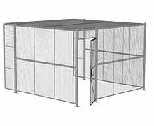 "3-Wall Woven Wire Security Cage, w/Ceiling, 12'6"" x 12'4"" x 8'5-1/4"" with 3' hinged gate"
