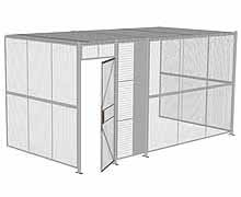 "3-Wall Woven Wire Security Cage, w/Ceiling, 16'6"" x 8'2"" x 8'5-1/4"" with 3' hinged gate"