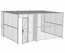 "3-Wall Woven Wire Security Cage, w/Ceiling, 16'6"" x 12'4"" x 8'5-1/4"" with 3' hinged gate"
