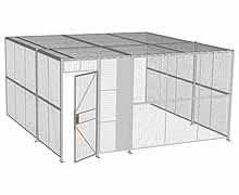 "3-Wall Woven Wire Security Cage, w/Ceiling, 16'6"" x 16'4"" x 8'5-1/4"" with 3' hinged gate"