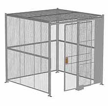 "4-Wall Woven Wire Security Cage, w/Ceiling, 8'4"" x 8'4"" x 8'5-1/4"" with 4' sliding gate"