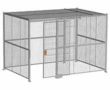 "4-Wall Woven Wire Security Cage, w/Ceiling, 12'6"" x 8'4"" x 8'5-1/4"" with 4' sliding gate"