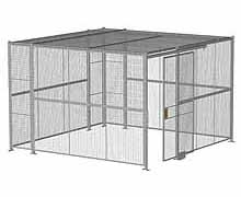 "4-Wall Woven Wire Security Cage, w/Ceiling, 12'6"" x 12'6"" x 8'5-1/4"" with 4' sliding gate"