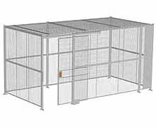 "4-Wall Woven Wire Security Cage, w/Ceiling, 16'6"" x 8'4"" x 8'5-1/4"" with 4' sliding gate"