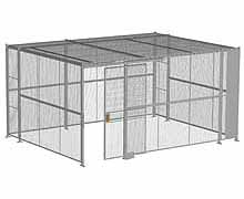 "4-Wall Woven Wire Security Cage, w/Ceiling, 16'6"" x 12'6"" x 8'5-1/4"" with 4' sliding gate"