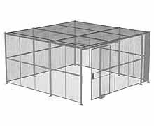 "4-Wall Woven Wire Security Cage, w/Ceiling, 16'6"" x 16'6"" x 8'5-1/4"" with 4' sliding gate"