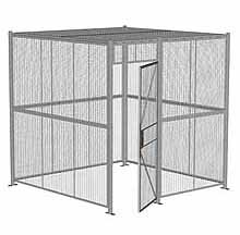 "4-Wall Woven Wire Security Cage, w/Ceiling, 8'4"" x 8'4"" x 8'5-1/4"" with 3' hinged gate"