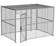 "4-Wall Woven Wire Security Cage, w/Ceiling, 12'6"" x 8'4"" x 8'5-1/4"" with 3' hinged gate"