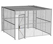 "4-Wall Woven Wire Security Cage, w/Ceiling, 12'6"" x 12'6"" x 8'5-1/4"" with 3' hinged gate"