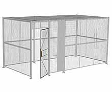 "4-Wall Woven Wire Security Cage, w/Ceiling, 16'6"" x 8'4"" x 8'5-1/4"" with 3' hinged gate"