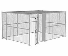 "4-Wall Woven Wire Security Cage, w/Ceiling, 16'6"" x 12'6"" x 8'5-1/4"" with 3' hinged gate"