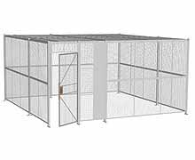 "4-Wall Woven Wire Security Cage, w/Ceiling, 16'6"" x 16'6"" x 8'5-1/4"" with 3' hinged gate"