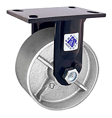 "75 Series Rigid Caster with 8"" x 3"" Cast Iron Wheel and 2,500 lb. Capacity"