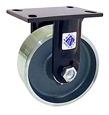 "75 Series Rigid Caster with 8"" x 2-1/2"" Rubber on Iron Wheel and 670 lb. Capacity"