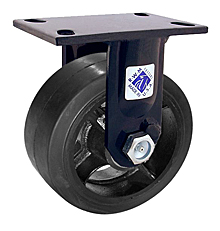 "75 Series Rigid Caster with 8"" x 3"" Rubber on Iron Wheel and 840 lb. Capacity"