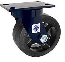 "75 Series Swivel Caster - 8"" x 3"" Rubber on Iron Wheel - 840 lb. Cap."