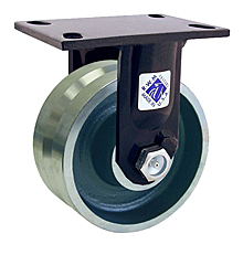 "75 Series Rigid Caster with 8"" x 3"" V-Groove Iron Wheel and 5,000 lb. Capacity"