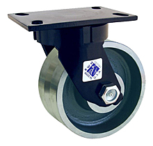 "75 Series Swivel Caster with 8"" x 2-1/2"" V-Groove Iron Wheel and 3,000 lb. Capacity"