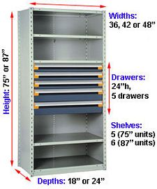 "Steel Shelving, 87h x 48w x 18d, w/ 24""h, 5-drawer unit, 6 shelves"