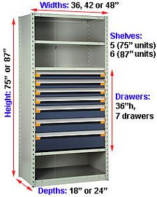 "Steel Shelving, 75h x 42w x 18d, w/ 36""h, 7-drawer unit, 5 shelves"
