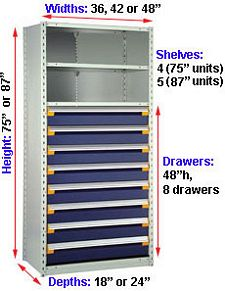 "Steel Shelving, 75h x 36w x 24d, w/ 48""h, 8-drawer unit, 4 shelves"