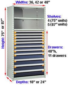 "Steel Shelving, 75h x 42w x 24d, w/ 48""h, 11-drawer unit, 4 shelves"